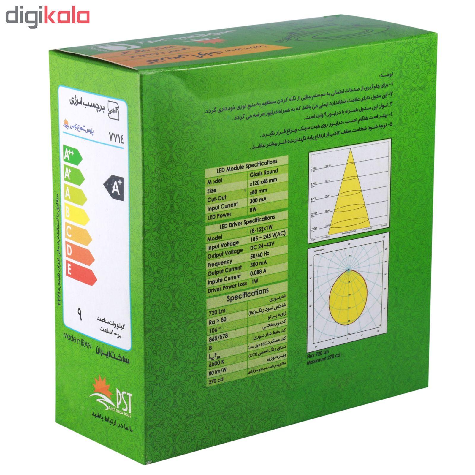 پنل ال ای دی 9 وات پارس شعاع توس مدل PT-GLARIS9 بسته 12عددی main 1 4