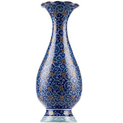 گلدان مسی میناکاری شده اثر شیرازی طرح اسلیمی ارتفاع 15 سانتی متر
