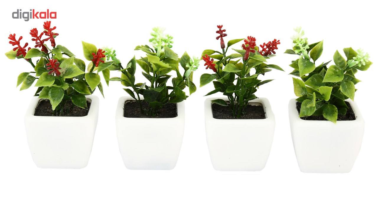 گلدان به همراه گل مصنوعی هومز طرح شمشاد مدل 30801 مجموعه 4 عددی main 1 1