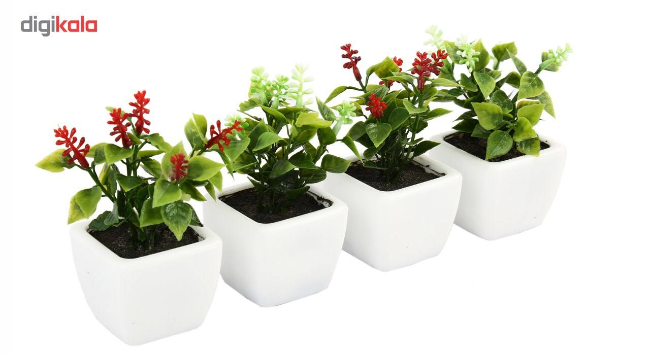 گلدان به همراه گل مصنوعی هومز طرح شمشاد مدل 30801 مجموعه 4 عددی main 1 2