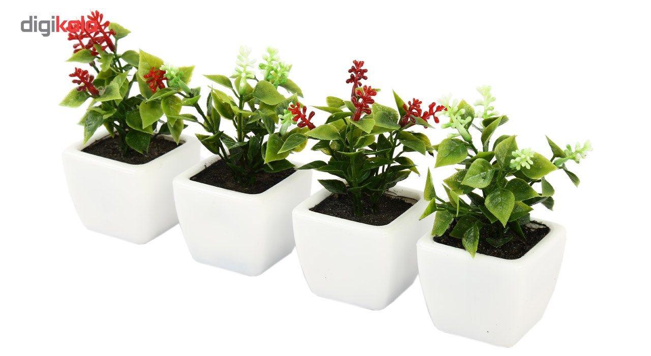 گلدان به همراه گل مصنوعی هومز طرح شمشاد مدل 30801 مجموعه 4 عددی main 1 3