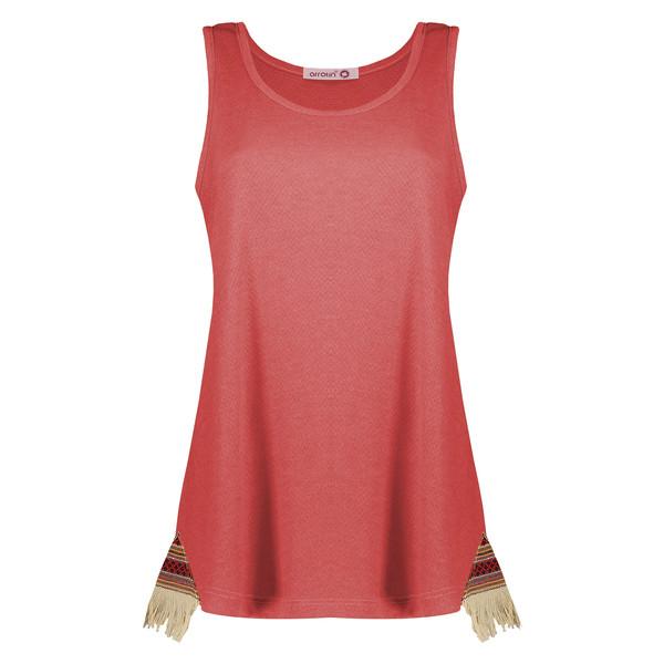 تاپ زنانه افراتین طرح سنتی کد 9516 رنگ قرمز