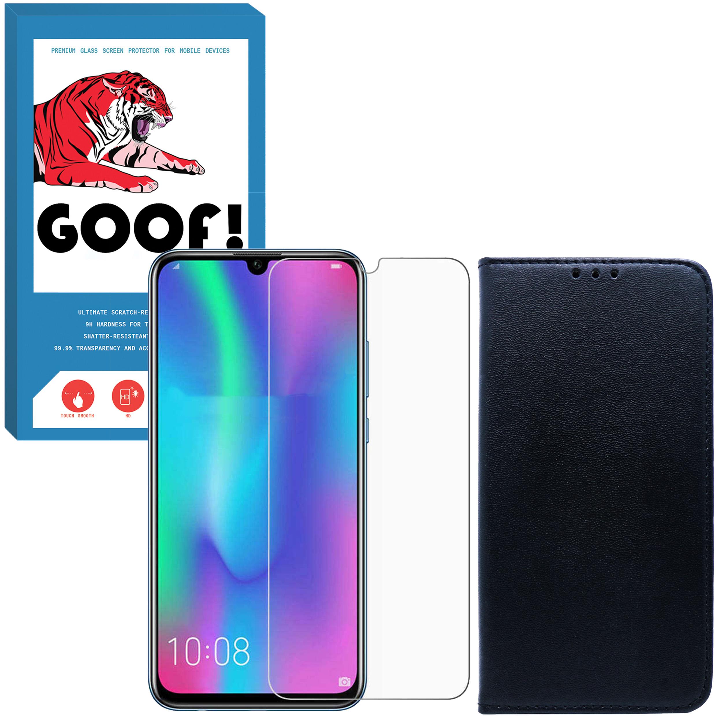 کیف کلاسوری مدل KF-022 مناسب برای گوشی موبایل P Smart 2019 / آنر 10 Lite به همراه محافظ صفحه نمایش گوف مدل SDG-002
