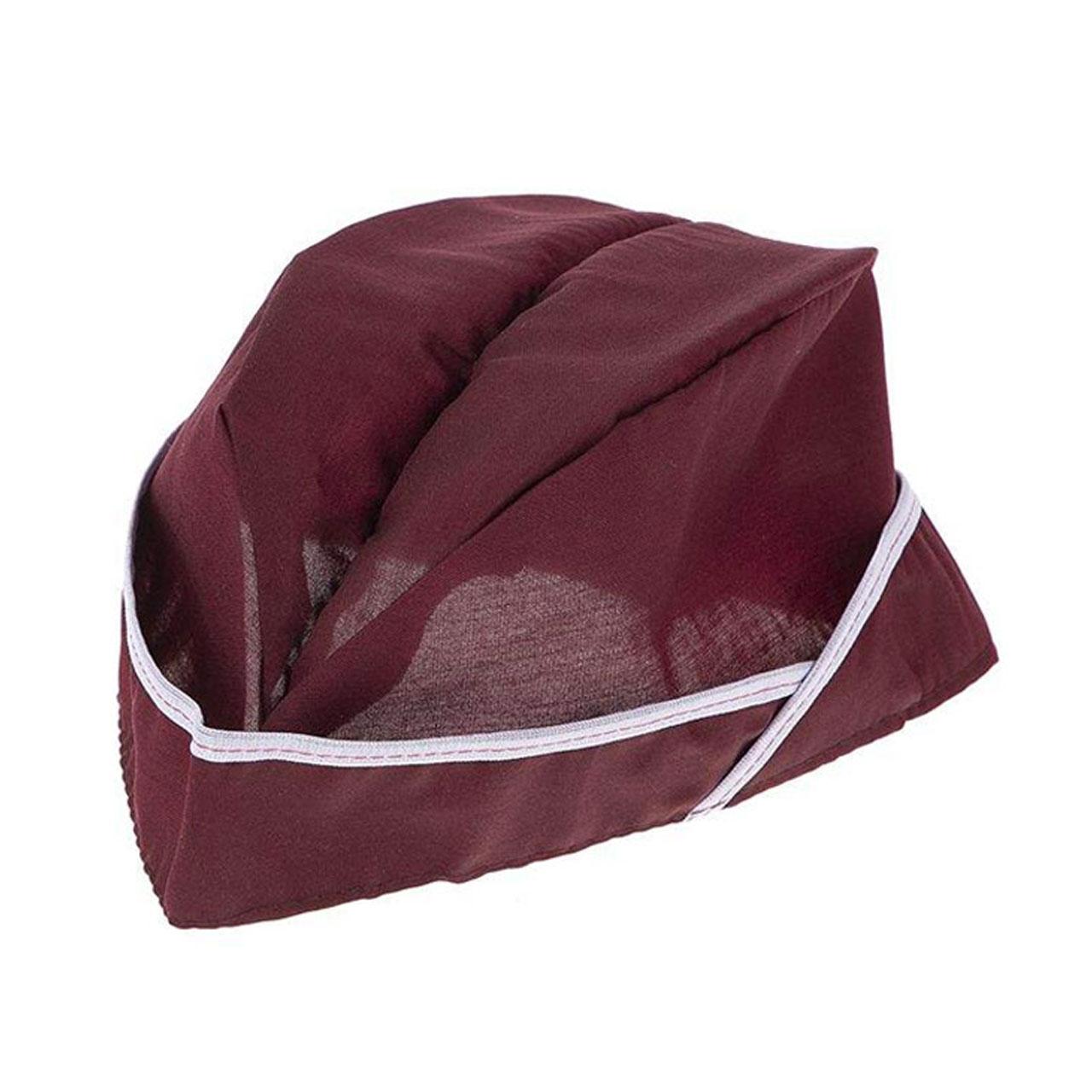کلاه آشپزی کد IGD رنگ زرشکی بسته سه عددی