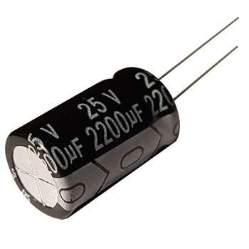 خازن الکترولیت 25 ولت 2200 میکرو فاراد کد 110 بسته 5 عددی