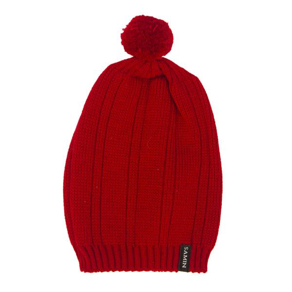 کلاه بافتنی ثمین مدل Rozhbin رنگ قرمز