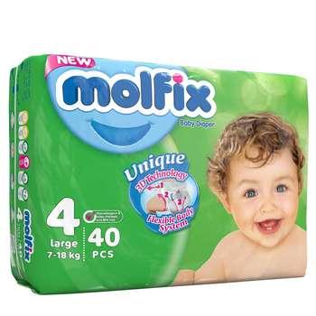 پوشک مولفیکس سایز 4 بسته 6+34 عددی سایز L