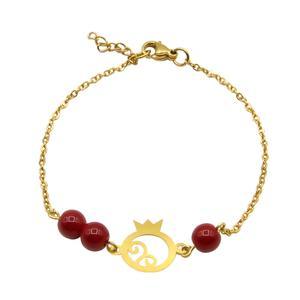 دستبند طلا 18 عیار زنانه مانچو طرح انار یلدا کد bfg178