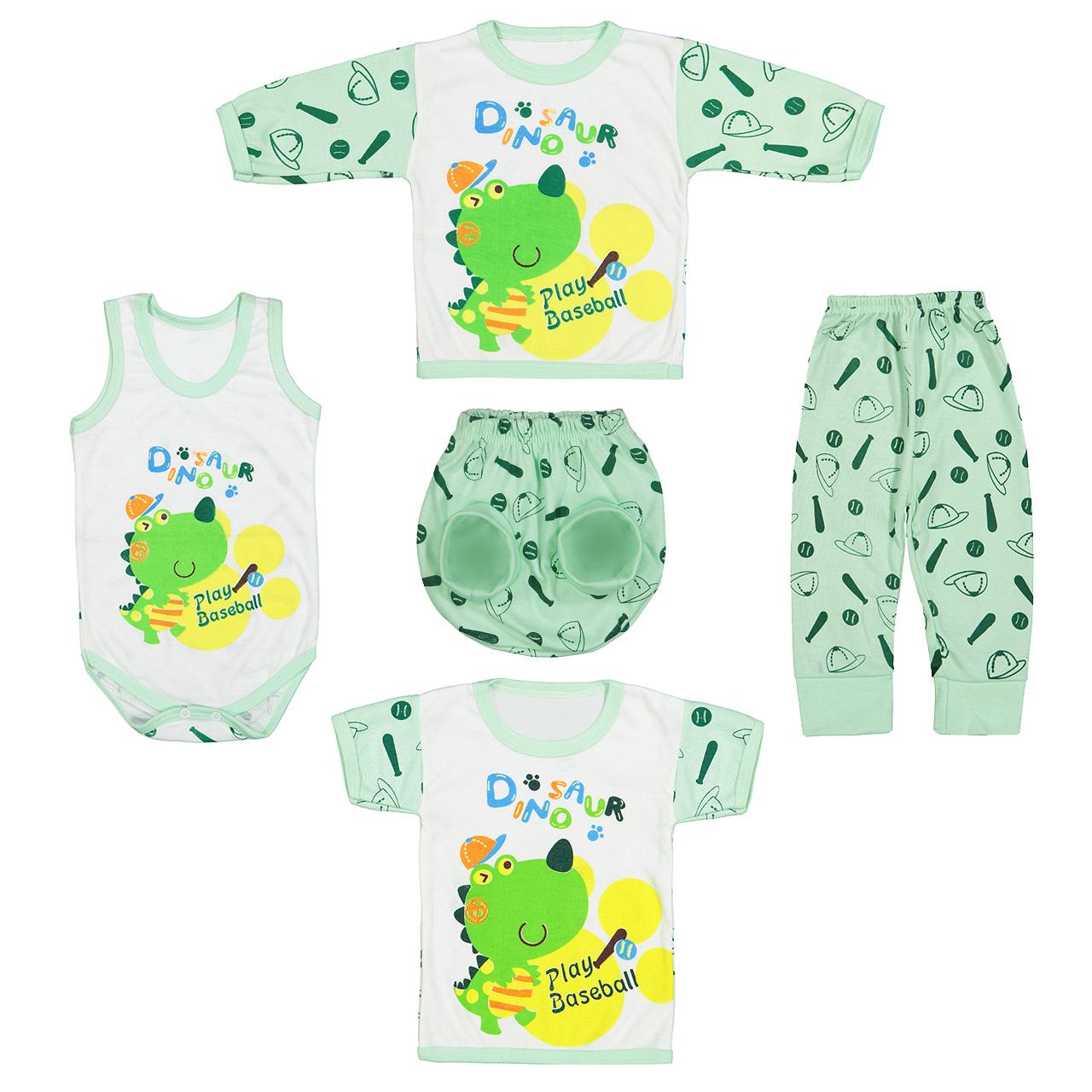 ست 5 تکه لباس نوزادی طرح دایناسور کد M24