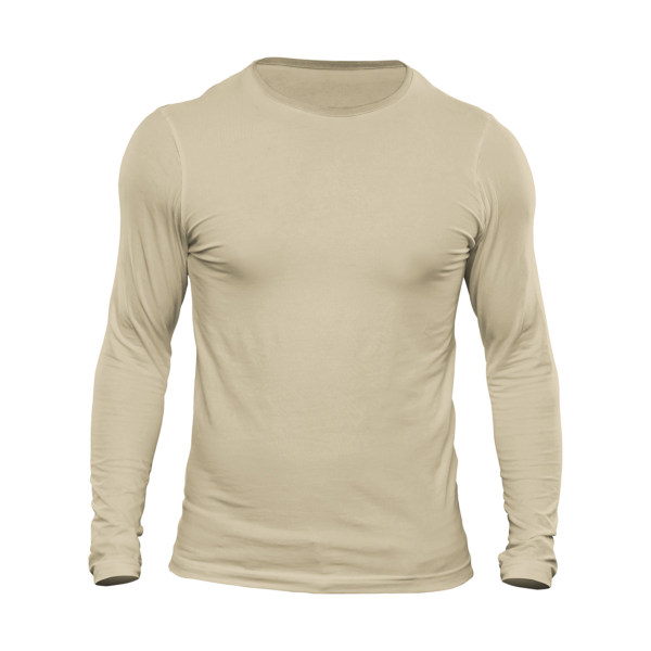 تیشرت آستین بلند مردانه کد 3FC رنگ کرم
