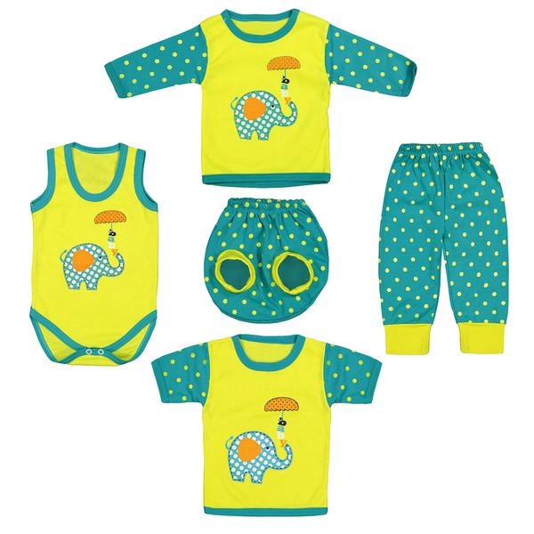 ست 5 تکه لباس نوزادی طرح بچه فیل کد M25