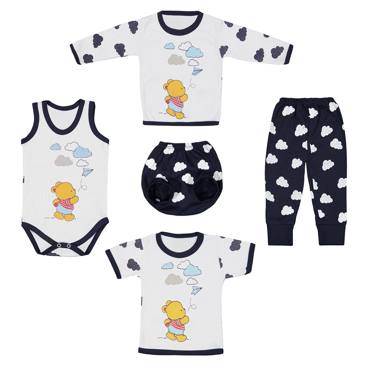 ست 5 تکه لباس نوزادی طرح خرس ابری کد M27