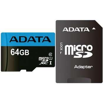 کارت حافظه microSDXC ای دیتا مدل Premier کلاس 10 استاندارد UHS-I U1 سرعت 85MBps همراه با آداپتور SD ظرفیت 64 گیگابایت