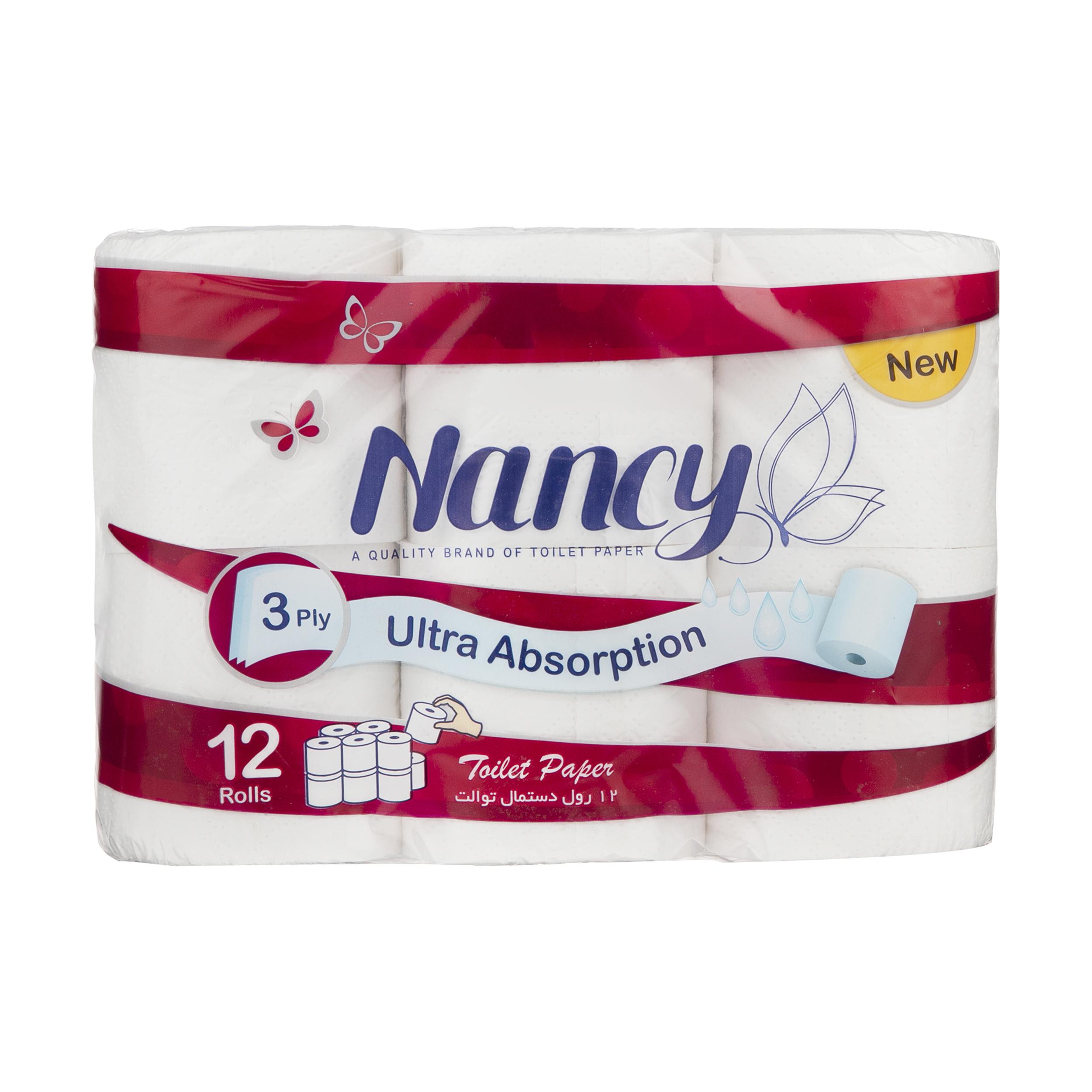 دستمال توالت نانسی بسته 12 عددی