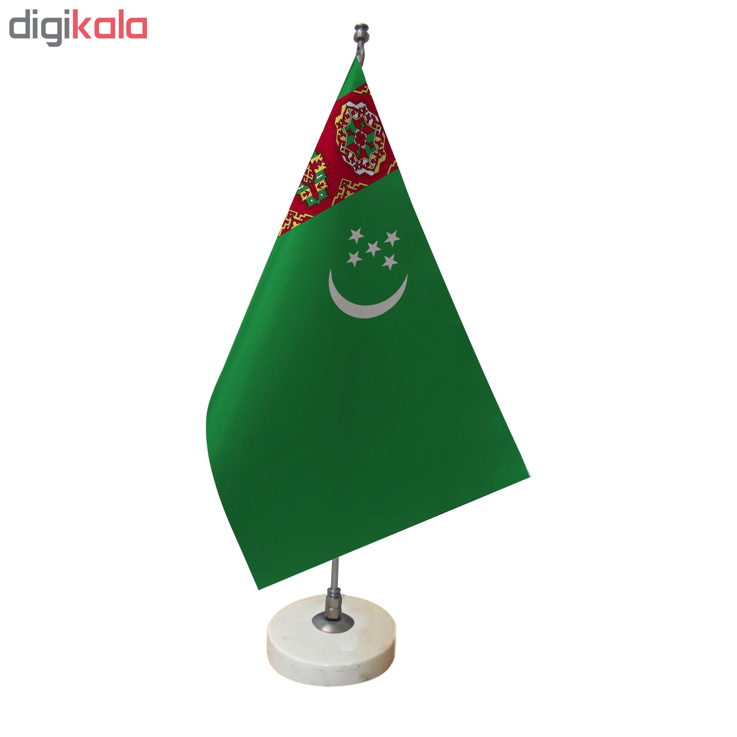 خرید                      پرچم رومیزی طرح پرچم ترکمنستان کد pr12