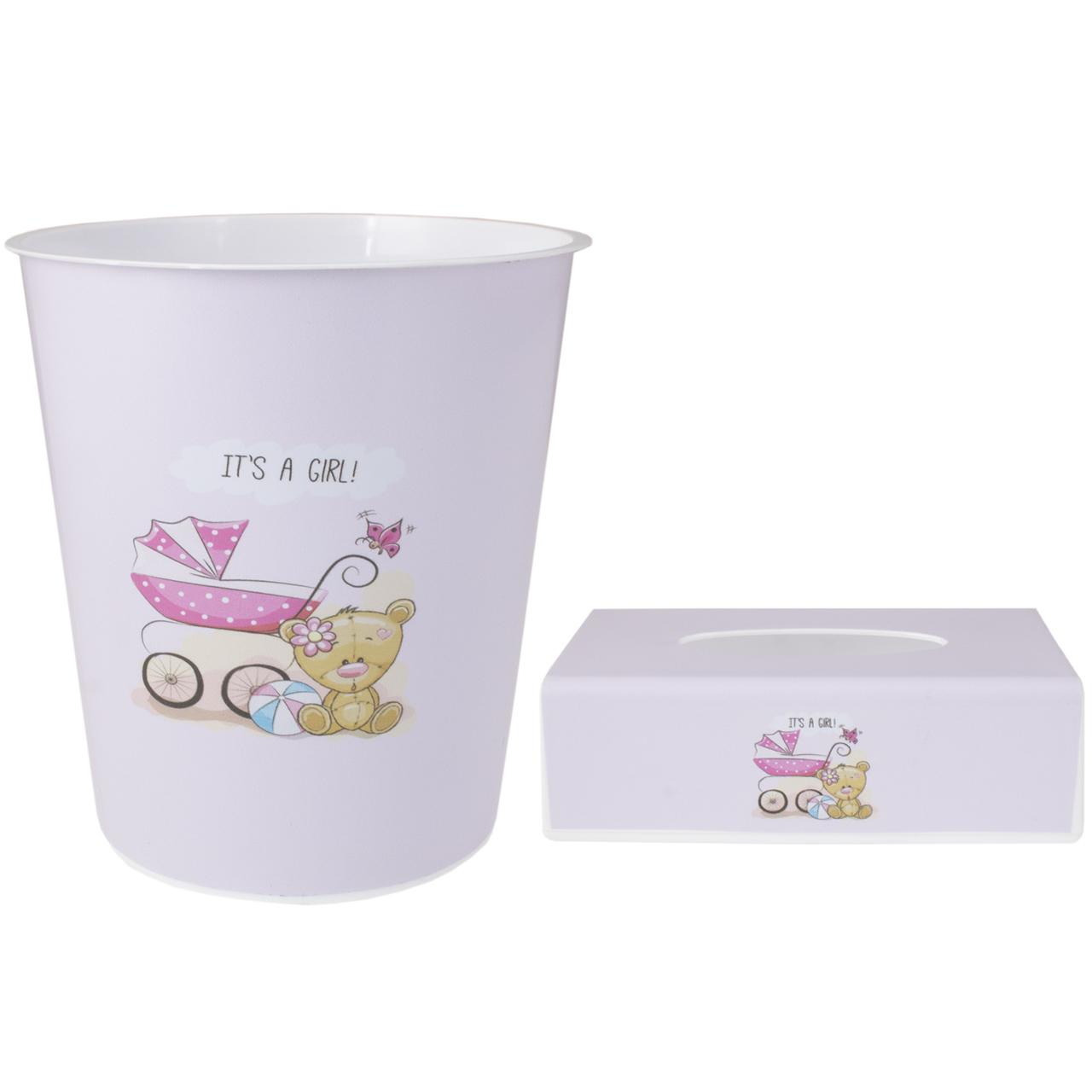 ست سطل و جادستمال اتاق کودک طرح خرس کد 0114