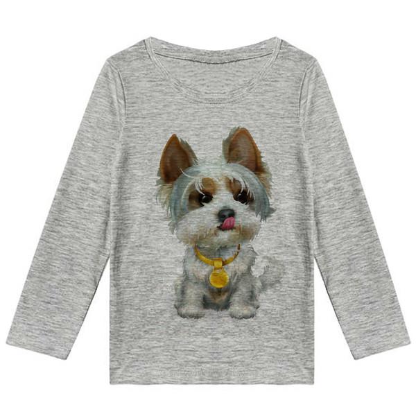 تیشرت آستین بلند پسرانه طرح سگ کد R41