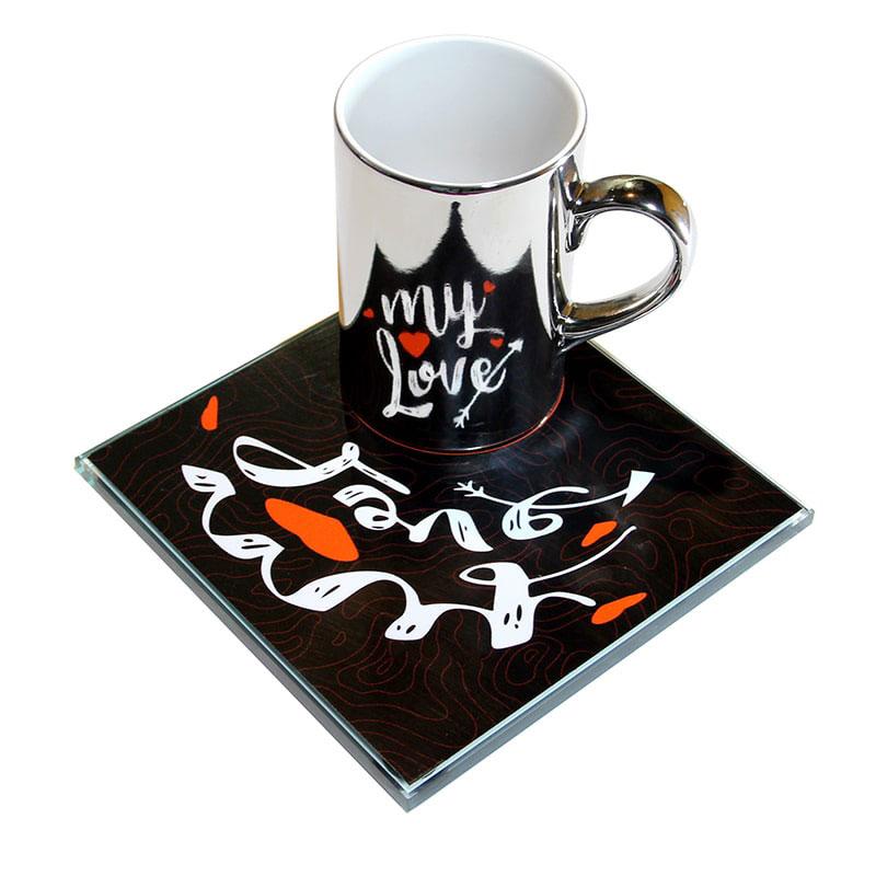 عکس ماگ ویداوین مدل My Love به همراه زیرلیوانی