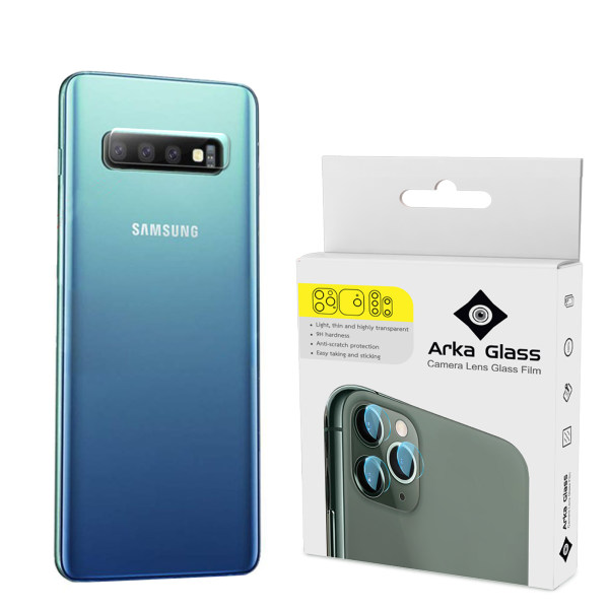 محافظ لنز دوربین آرکا گلس مدل GLA مناسب برای گوشی موبایل سامسونگ GALAXY S10