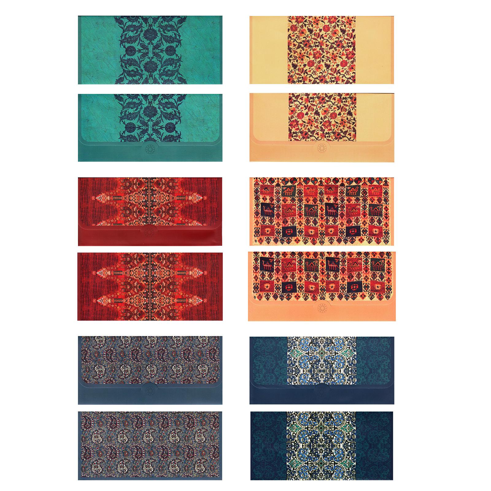 پاکت پول طرح نقوش سنتی ایرانی مجموعه 12 عددی