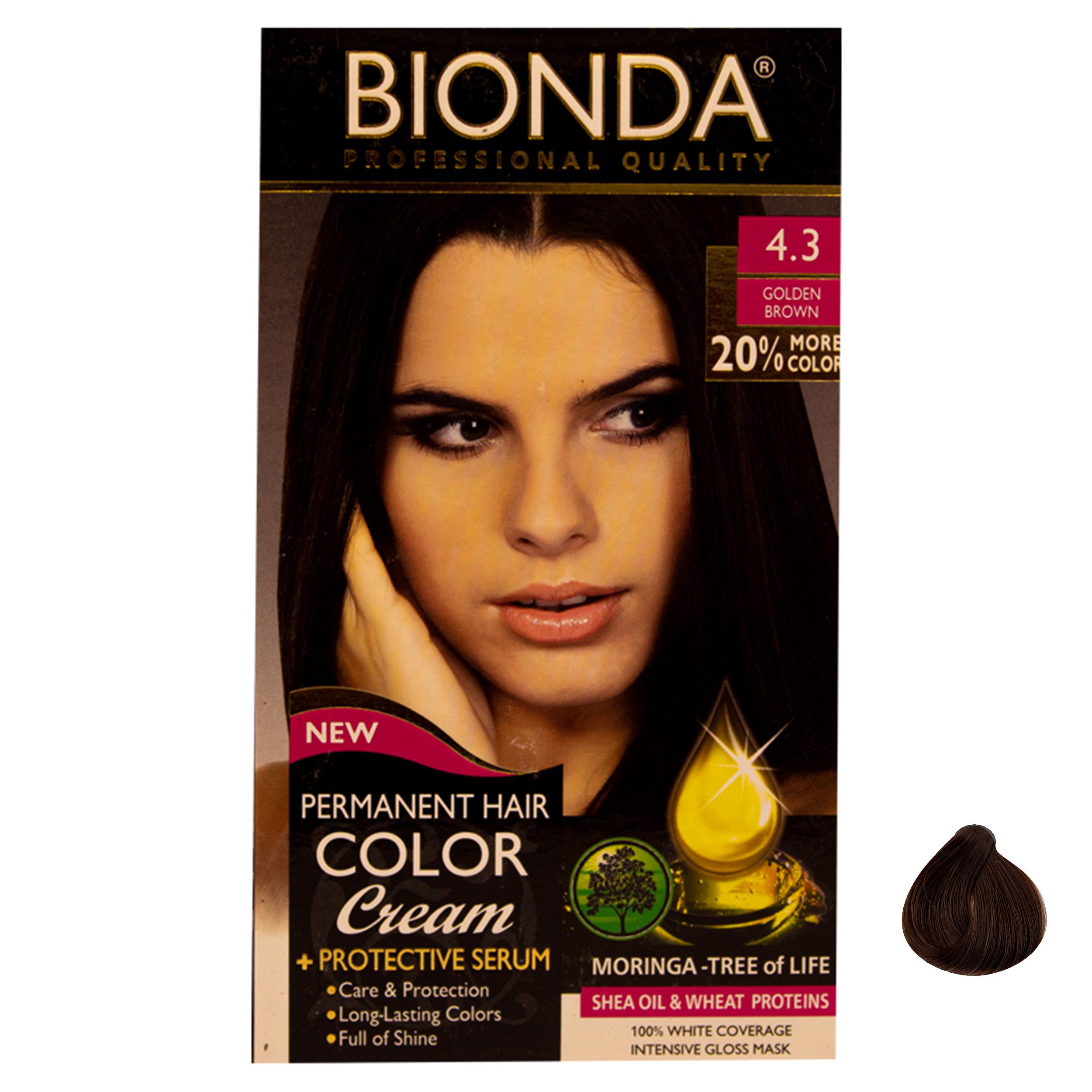 کیت رنگ مو بیوندا کد 4.3 حجم 60 میلی لیتر رنگ قهوه ای طلایی