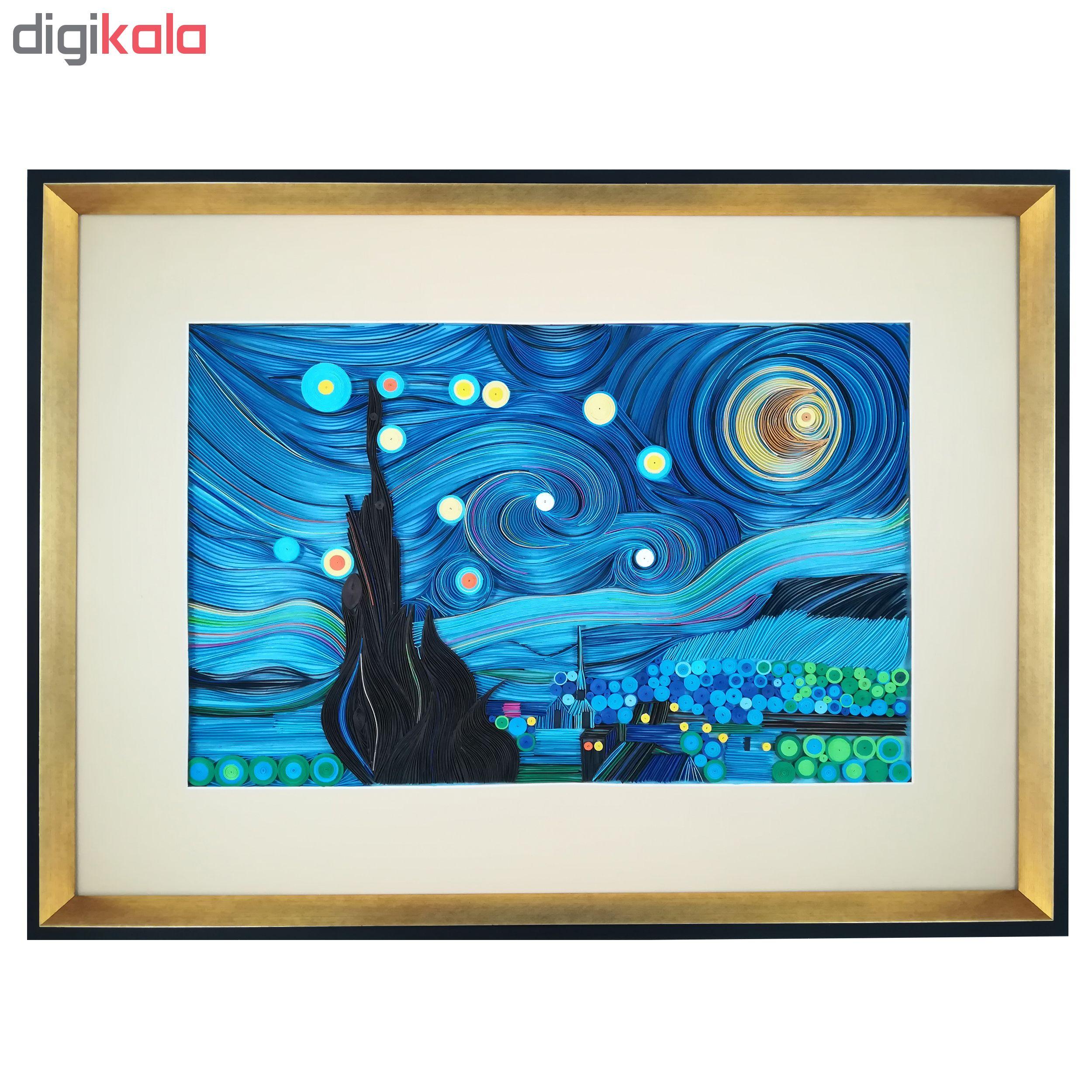 تابلو ملیله کاغذی طرح شب پر ستاره کد 2