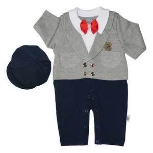 ست سرهمی و کلاه نوزادی آدمک کد 135501 رنگ سرمه ای