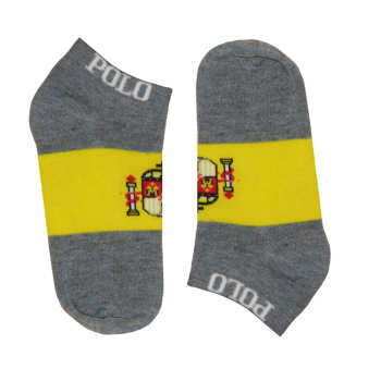 جوراب مردانه طرح پرچم اسپانیا کد 117 رنگ طوسی