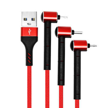 کابل تبدیل USB به MicroUSB/Lightning/USB-C تسکو مدل TC A100 طول 1.2 متر