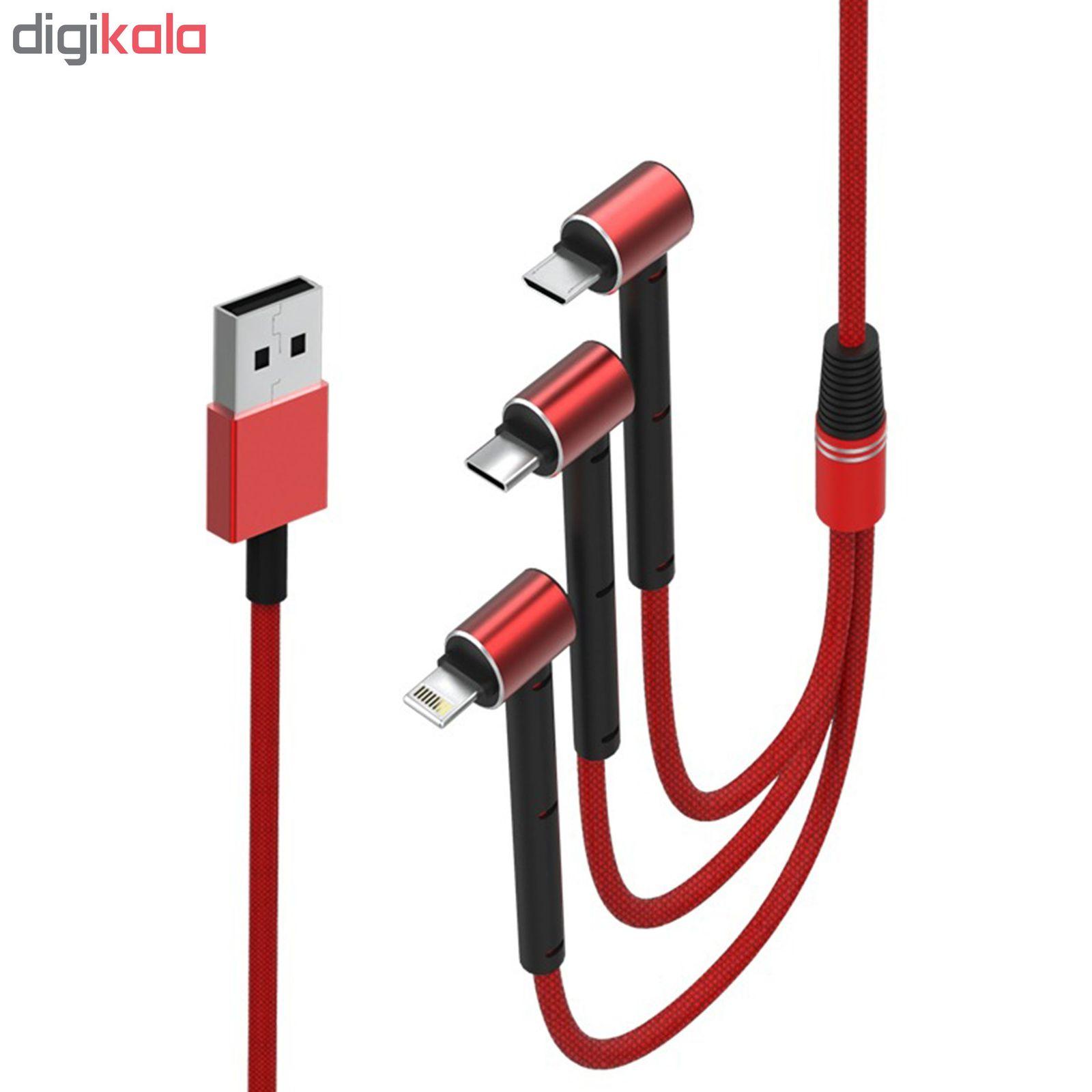 کابل تبدیل USB به MicroUSB/Lightning/USB-C تسکو مدل TC A100 طول 1.2 متر main 1 2
