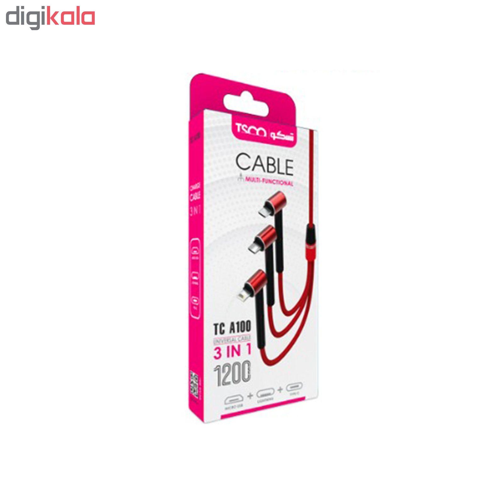 کابل تبدیل USB به MicroUSB/Lightning/USB-C تسکو مدل TC A100 طول 1.2 متر main 1 6