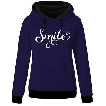 هودی زنانه طرح smile کد B07 رنگ آبی نفتی