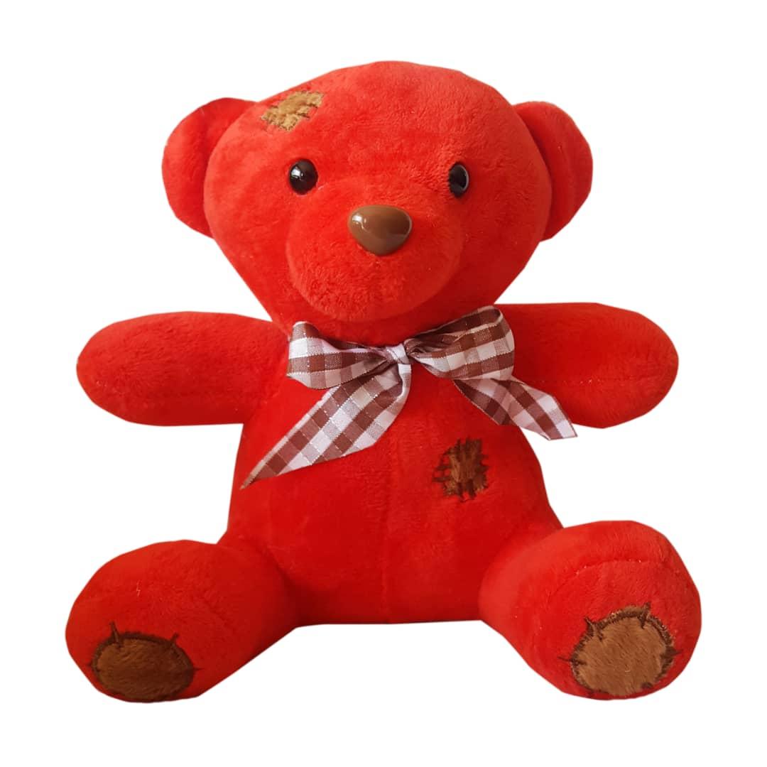 عروسک نینو طرح خرس وصله دار ارتفاع 22 سانتی متر