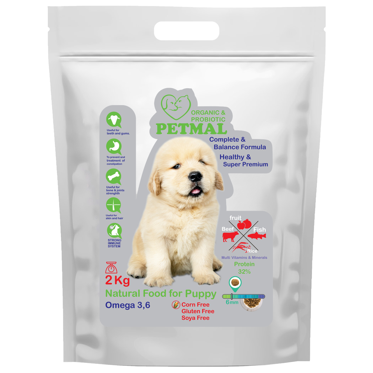 غذای خشک سگ پتمال مدل Rice & Fruit وزن 2 کیلوگرم