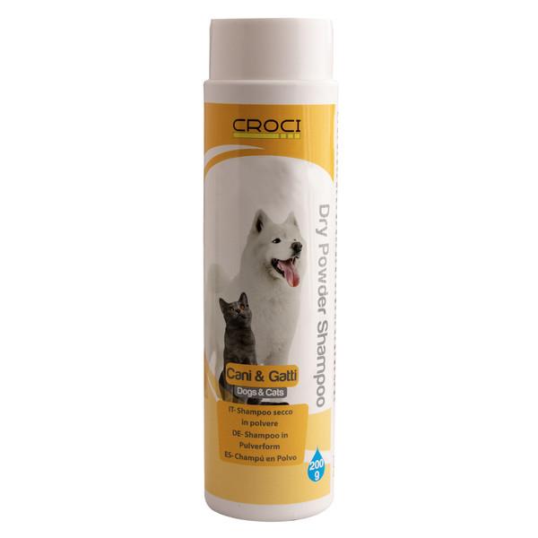 شامپو خشک سگ و گربه کروچی مدل powder وزن 200 گرم