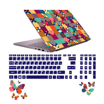 استیکر لپ تاپ صالسو آرت مدل 5020 hk به همراه برچسب حروف فارسی کیبورد