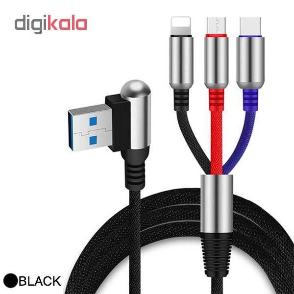 کابل تبدیل USB به لایتنینگ/USB-C/microUSB وایکینگز مدل aio-100 طول 1.2 متر main 1 1