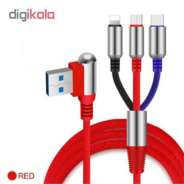 کابل تبدیل USB به لایتنینگ/USB-C/microUSB وایکینگز مدل aio-100 طول 1.2 متر main 1 2