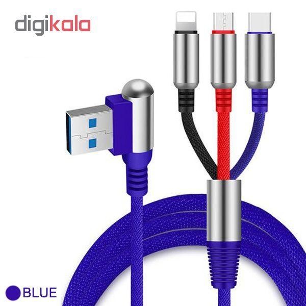 کابل تبدیل USB به لایتنینگ/USB-C/microUSB وایکینگز مدل aio-100 طول 1.2 متر main 1 3