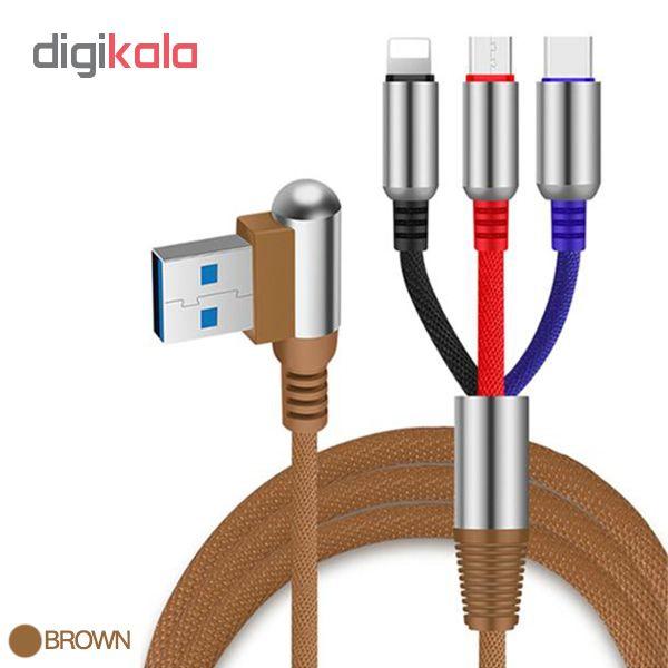 کابل تبدیل USB به لایتنینگ/USB-C/microUSB وایکینگز مدل aio-100 طول 1.2 متر main 1 4