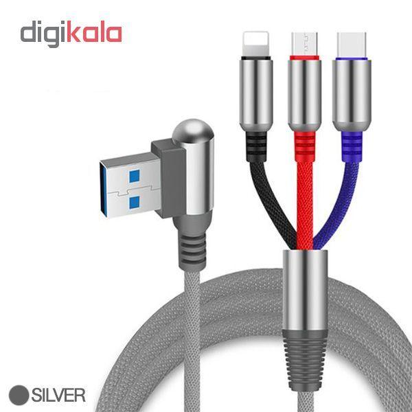 کابل تبدیل USB به لایتنینگ/USB-C/microUSB وایکینگز مدل aio-100 طول 1.2 متر main 1 5
