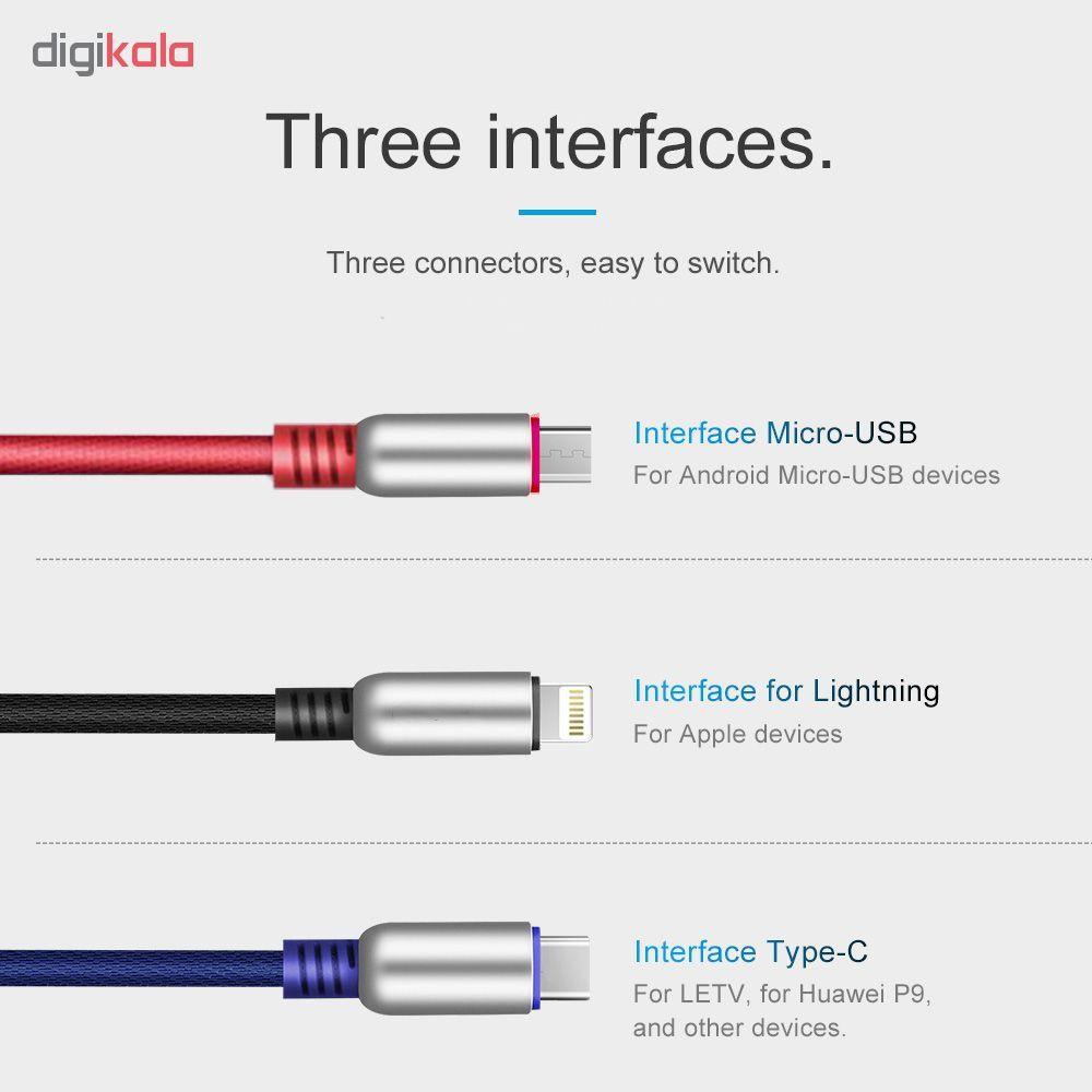کابل تبدیل USB به لایتنینگ/USB-C/microUSB وایکینگز مدل aio-100 طول 1.2 متر main 1 8