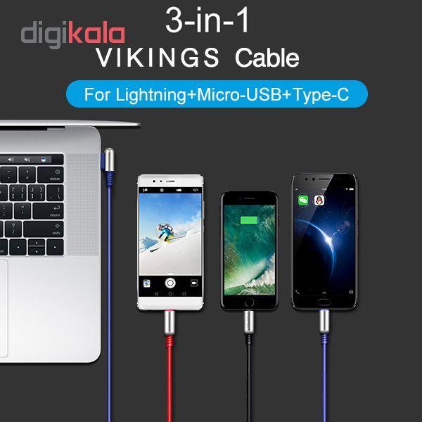 کابل تبدیل USB به لایتنینگ/USB-C/microUSB وایکینگز مدل aio-100 طول 1.2 متر main 1 9