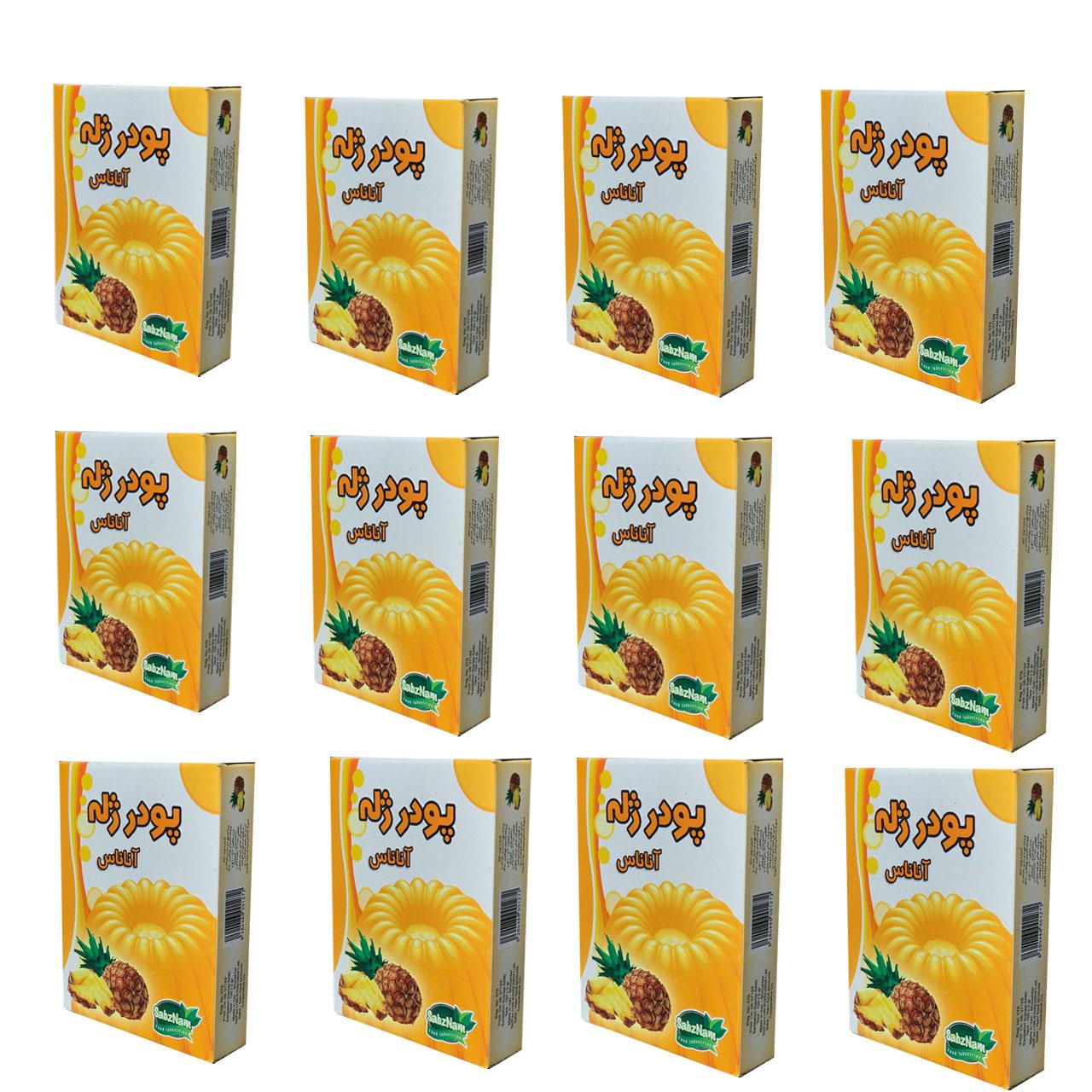پودر ژله آناناس سبزنام-100گرم مجموعه 12 عددی