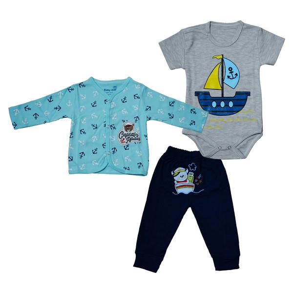 ست 3 تکه لباس نوزاد بی بی وان طرح خرس قایقران