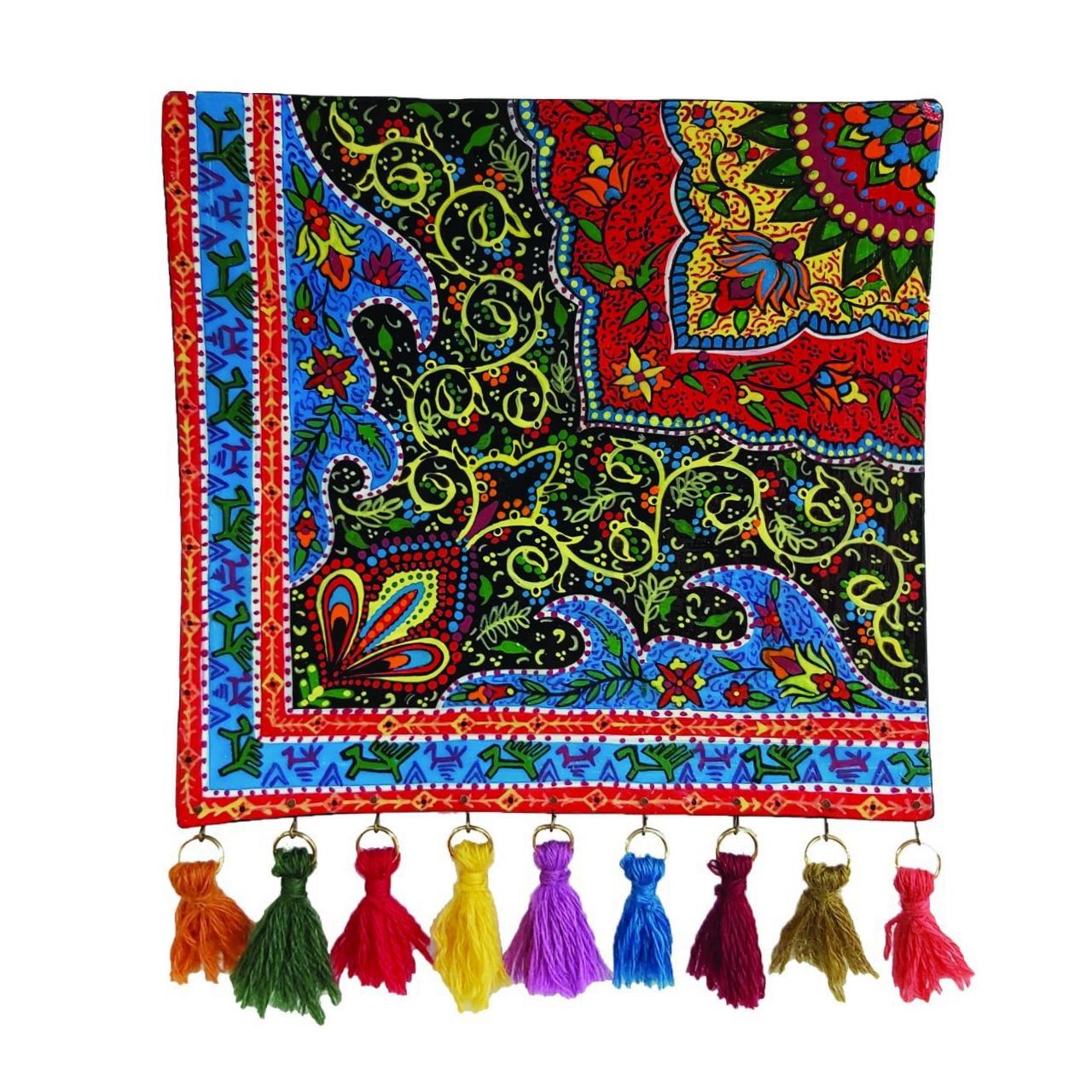 بشقاب سفالی دیوارکوب طرح فرش کد ۱۰۰۱