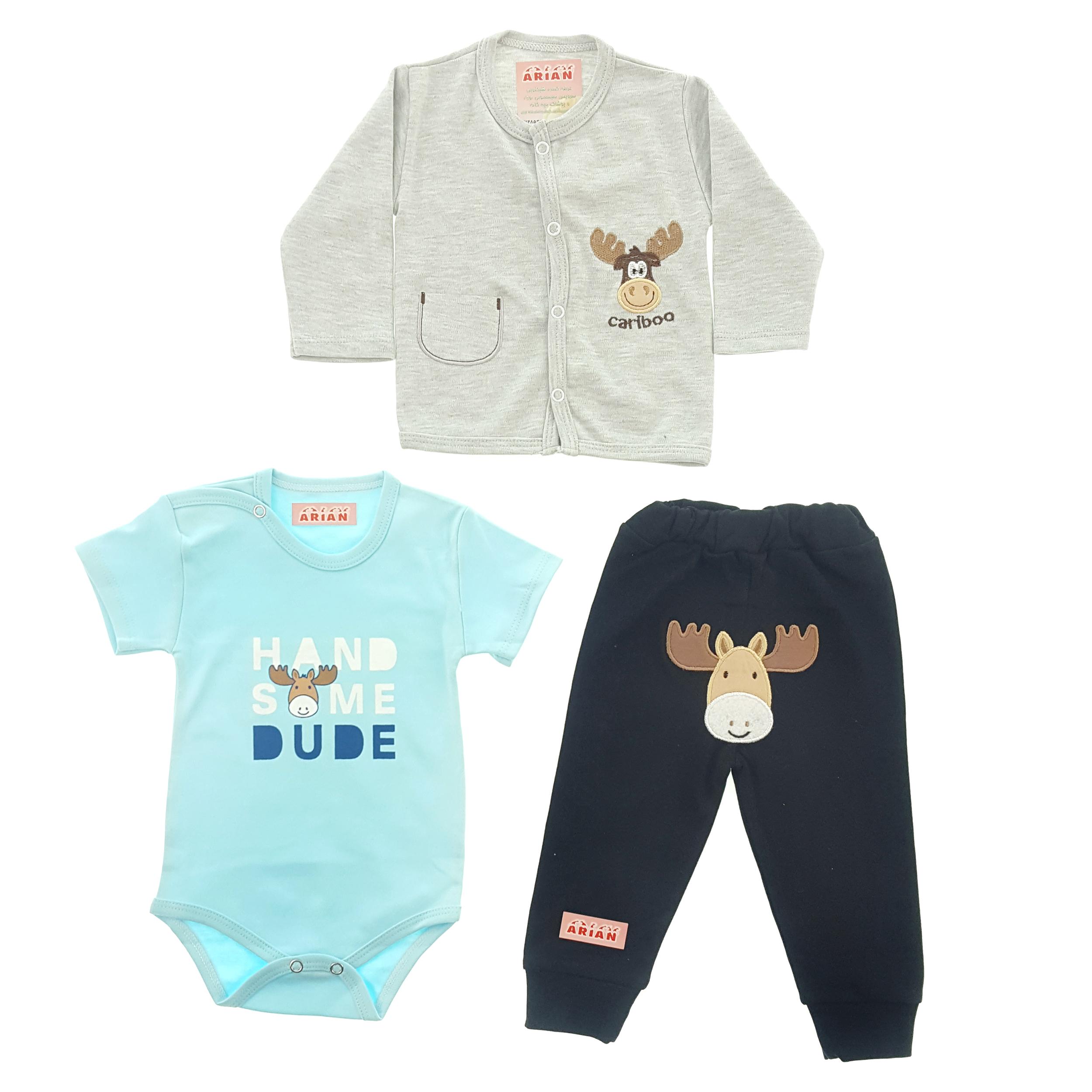 ست 3 تکه لباس نوزادی پسرانه  طرح گوزن کد t77285493   _ 989567ii18