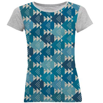 تی شرت آستین کوتاه زنانه طرح ماهی کد B01