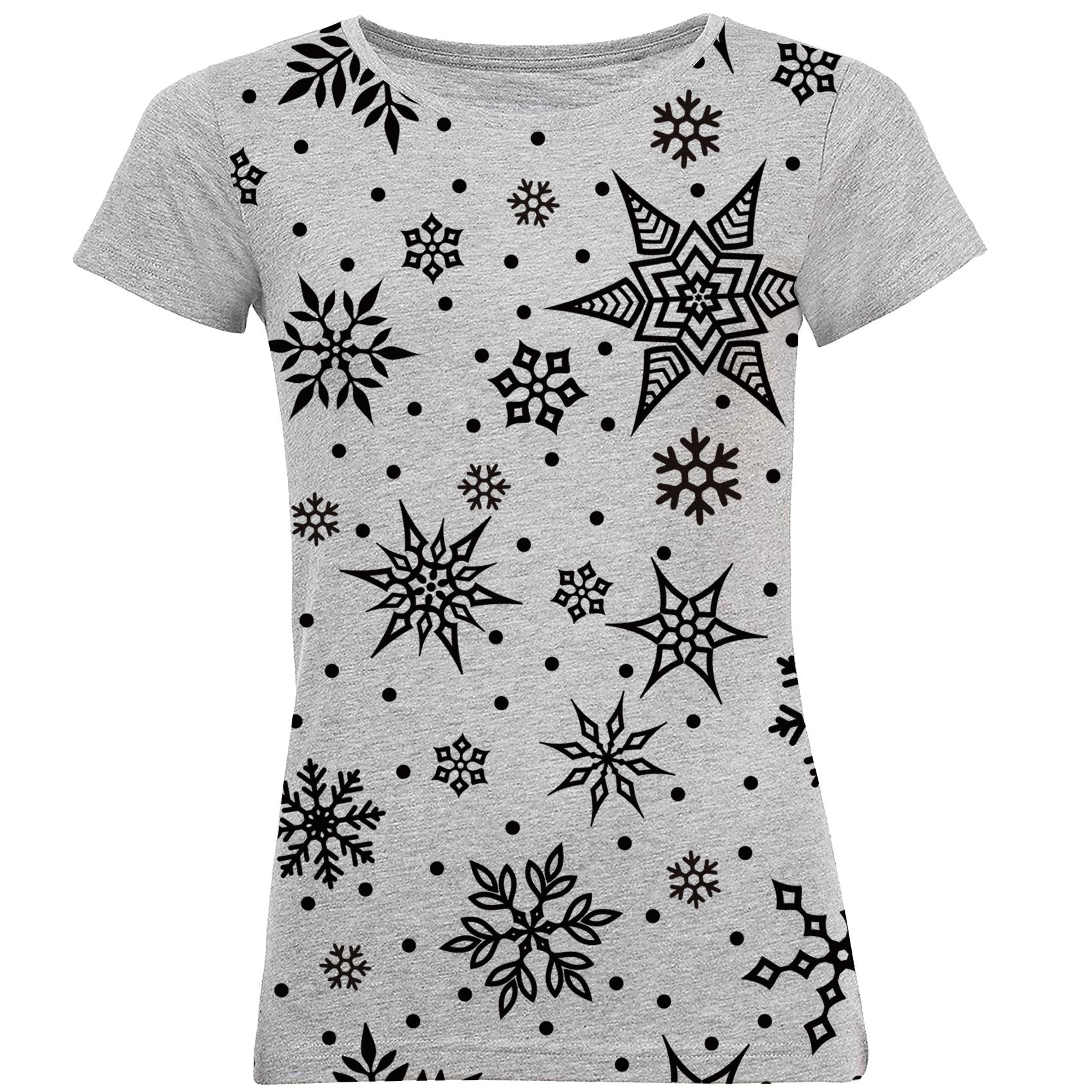 Photo of تی شرت آستین کوتاه زنانه طرح برف کد B06