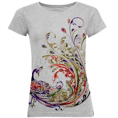 تصویر تی شرت آستین کوتاه زنانه طرح طاووس کد B08